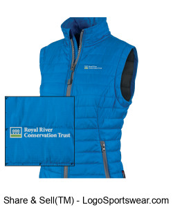 Women's slim fit full zip vest with RRCT logo Design Zoom