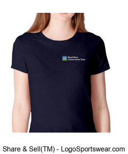 Ladies cotton Tee Navy Design Zoom